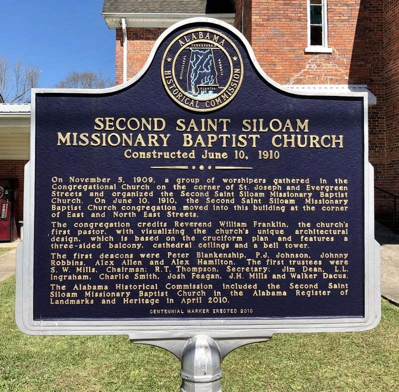 Second Saint Siloam Missionary Baptist Church Marker image. Click for full size.