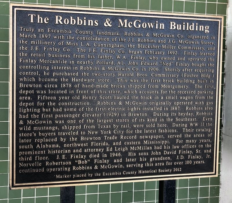 The Robbins & McGowin Building Marker image. Click for full size.