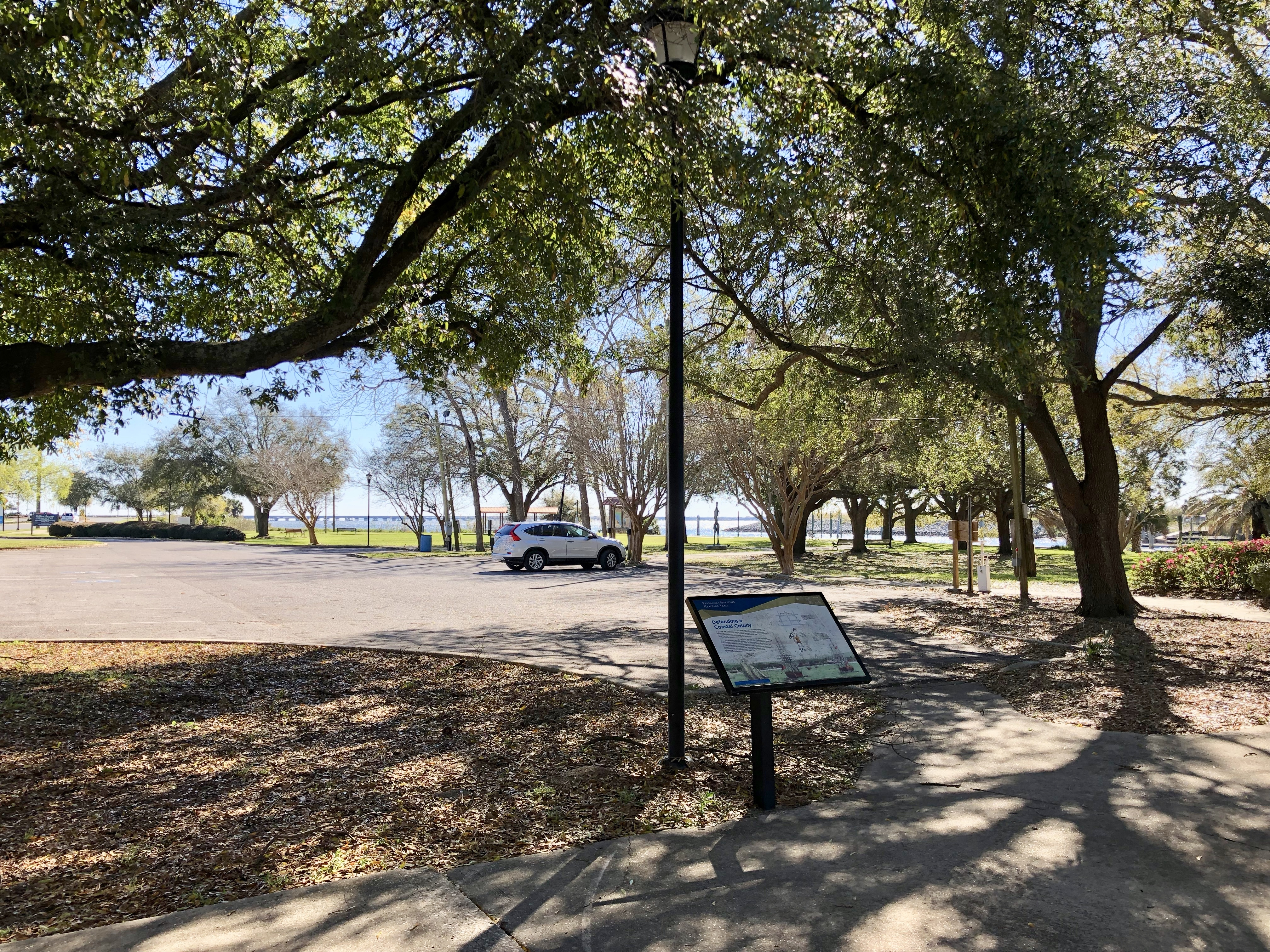 View from marker through Bartram Park to Pensacola Bay.