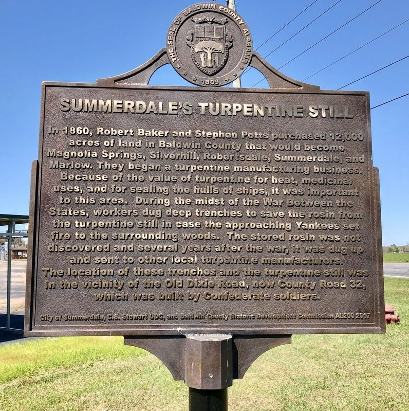 Summerdale's Turpentine Still Marker image. Click for full size.