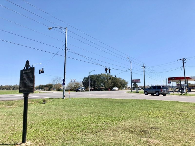 View of marker at intersection of AL-59 and CR-32. image. Click for full size.