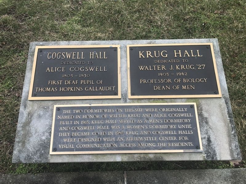 Cogswell and Krug Halls Marker image. Click for full size.