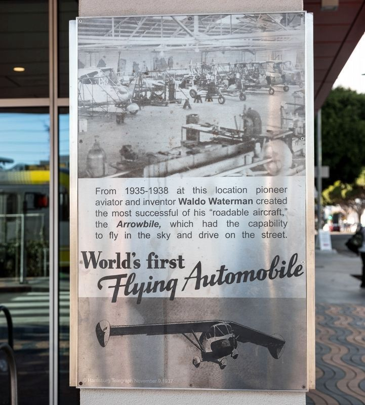 World's First Flying Automobile Marker, main panel image. Click for full size.