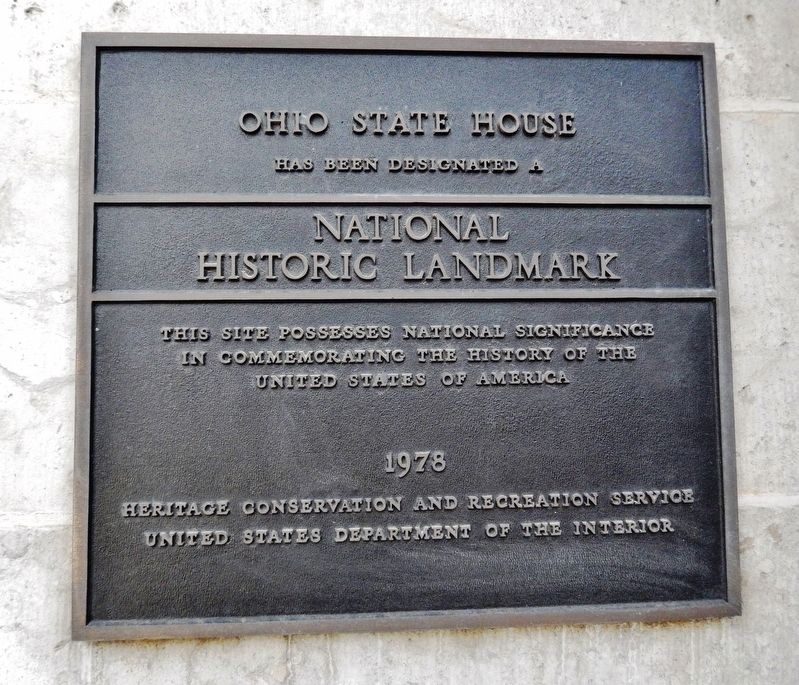 Ohio State House National Historic Landmark Plaque image. Click for full size.