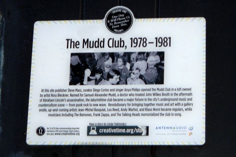 The Mudd Club, 1978-1981 Marker image. Click for full size.