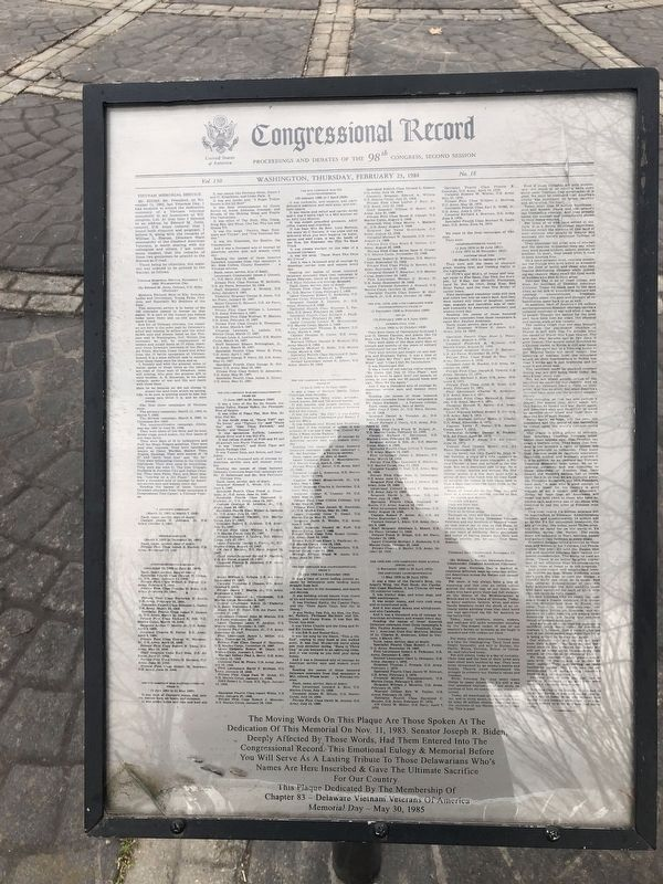Congressional Record for the dedication of the Memorial image. Click for full size.