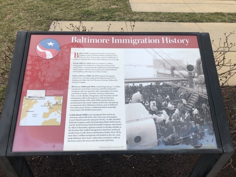 Baltimore Immigration History Marker image. Click for full size.