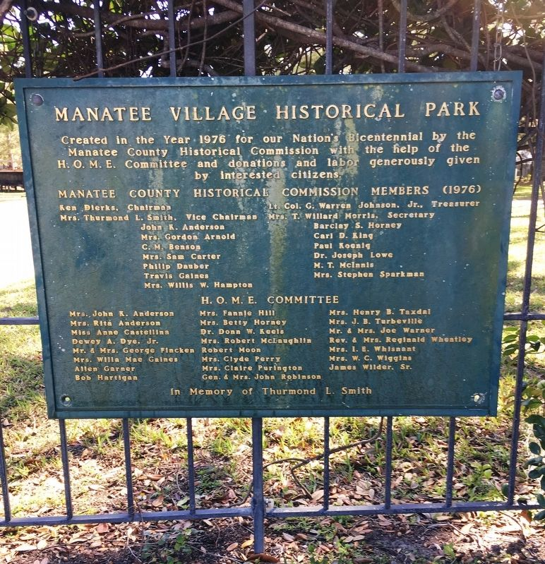 Manatee Village Historical Plaque image. Click for full size.