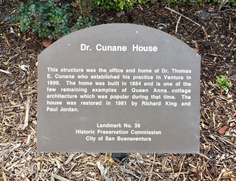 Dr. Cunane House Marker image. Click for full size.