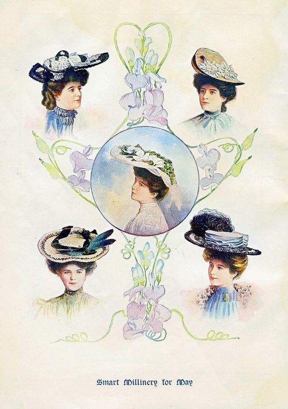 Smart Millinery for May 1905 image. Click for full size.