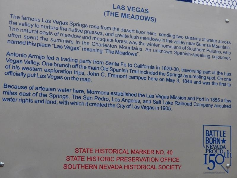 Las Vegas (The Meadows) Marker image. Click for full size.