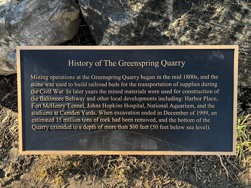 History of The Greenspring Quarry Marker image. Click for full size.