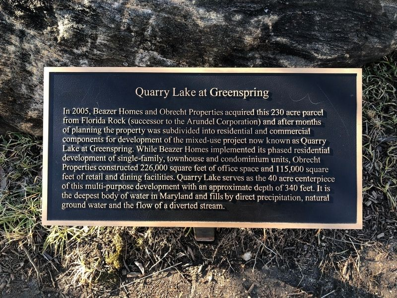 Quarry Lake at Greenspring Marker image. Click for full size.