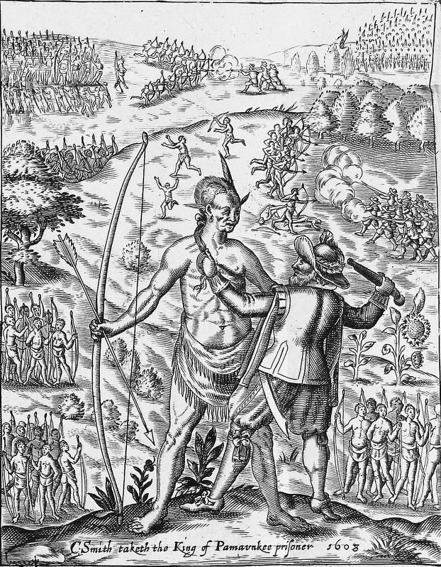 John Smith taking the King of Pamunkey (Opechancanough) prisoner. image. Click for full size.