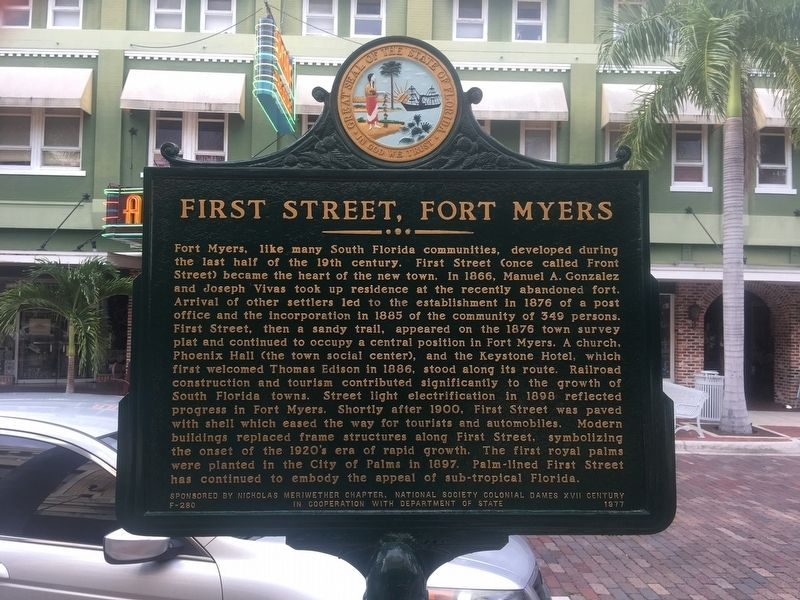 First Street Fort Myres Marker image. Click for full size.