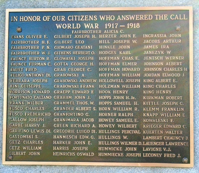 World War I Memorial Honor Roll image. Click for full size.