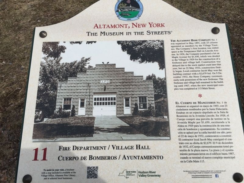 Fire Department/Village Hall Marker image. Click for full size.