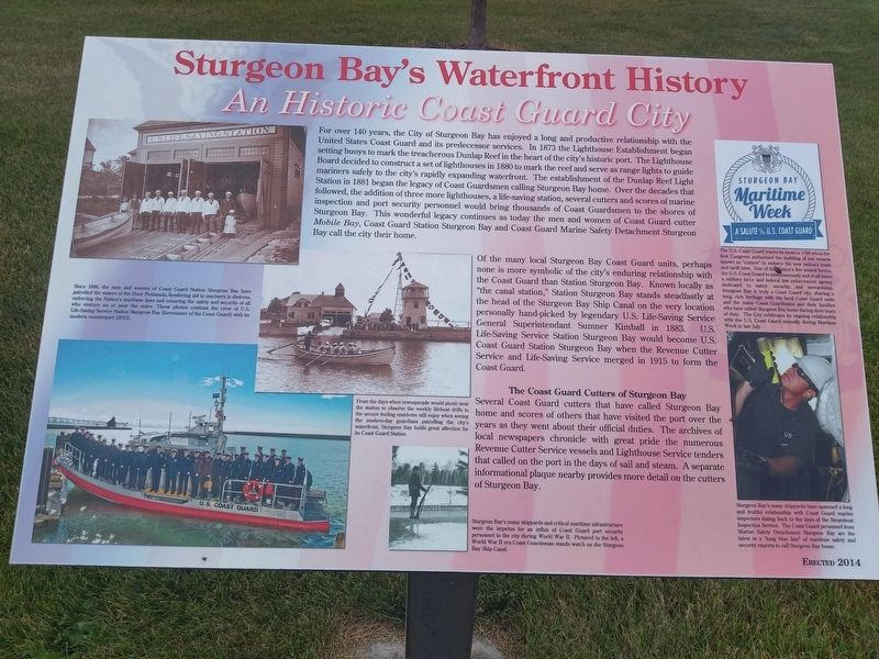 Sturgeon Bay's Waterfront History Marker image. Click for full size.