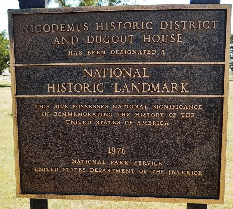 Nicodemus Historic District National Historic Landmark plaque (<i>located near marker</i>) image. Click for full size.