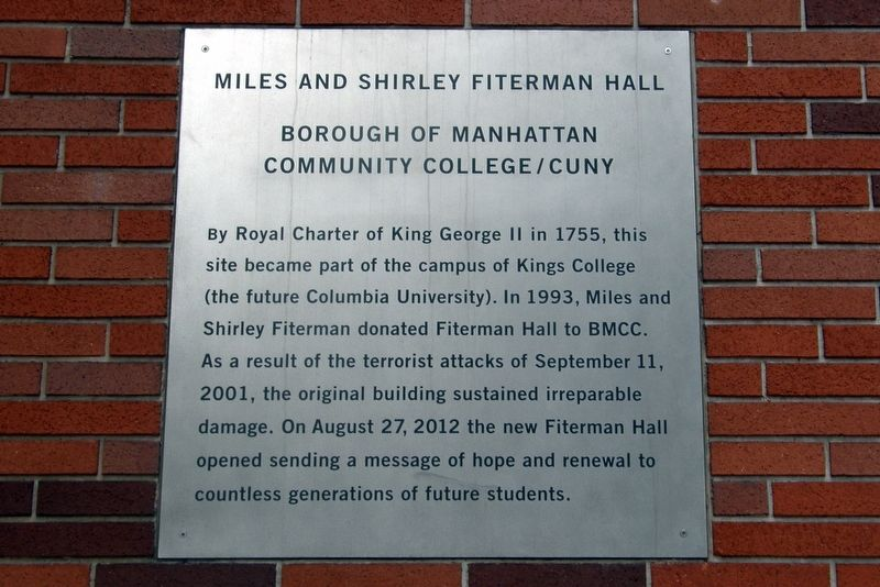 Miles and Shirley Fiterman Hall Marker image. Click for full size.
