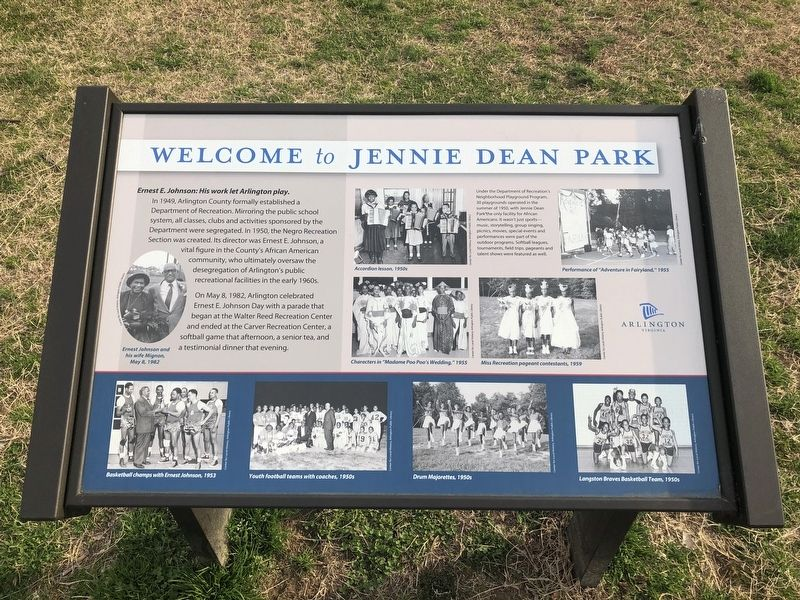 Welcome to Jennie Dean Park Marker image. Click for full size.