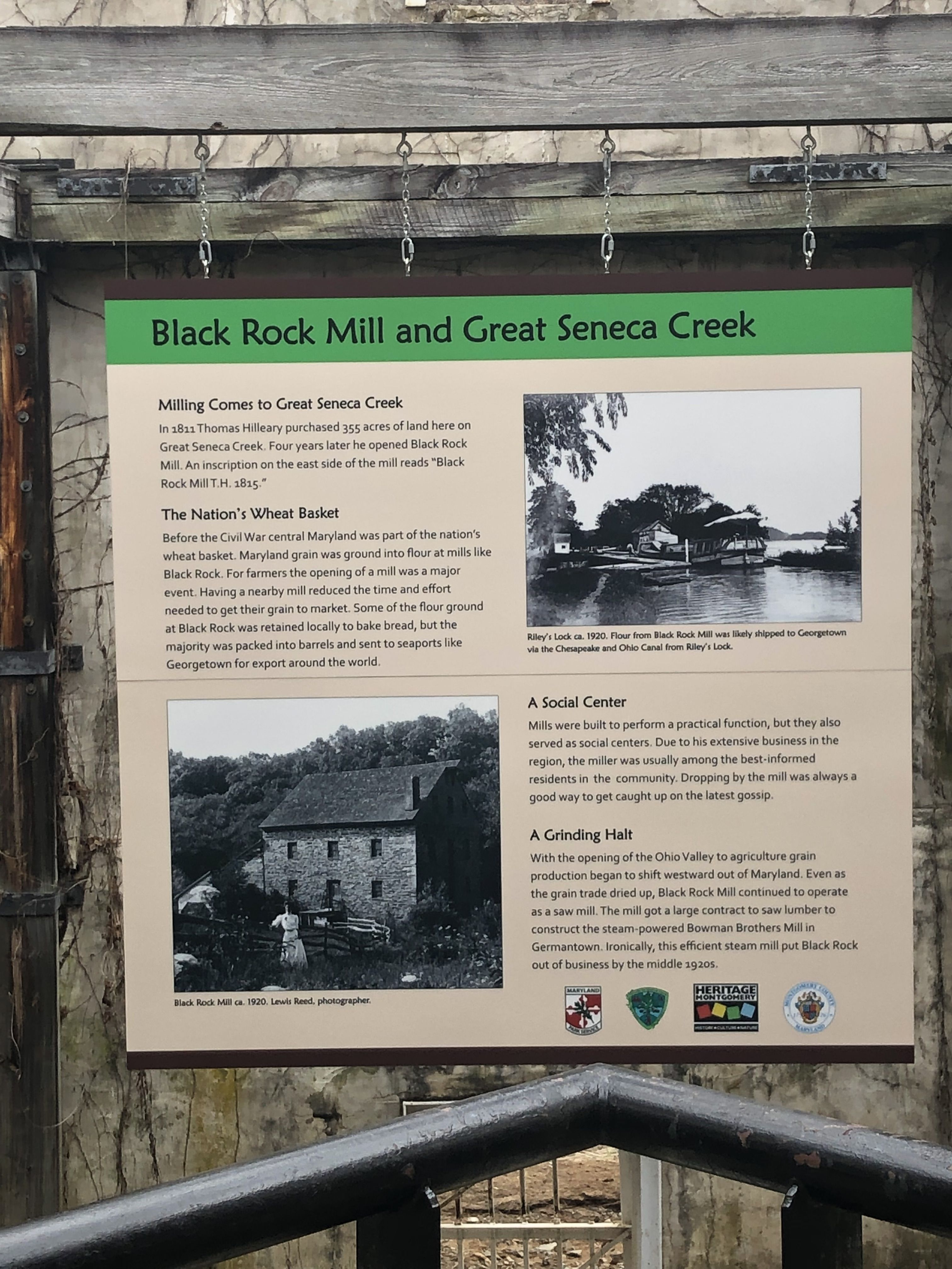 Black Rock Mill and Great Seneca Creek Marker
