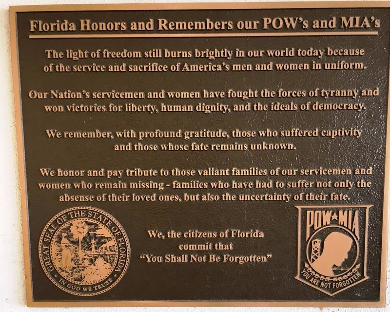 Florida Honors and Remembers our POW's and MIA's Marker image. Click for full size.