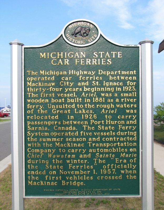 Michigan State Car Ferries<br>(<i>marker side 2 • faces west</i>) image. Click for full size.