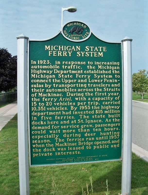 Michigan State Ferry System<br>(<i>marker side 1 • faces east</i>) image. Click for full size.