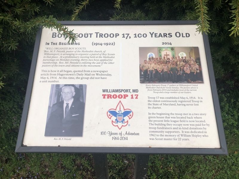 Boy Scout Troop 17, 100 Years Old Marker image. Click for full size.