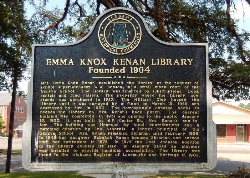 Emma Knox Kenan Library Marker image. Click for full size.