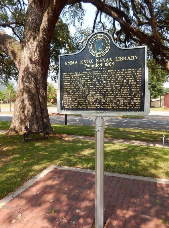 Emma Knox Kenan Library Marker (<i>tall view; South Commerce Street in background</i>) image. Click for full size.