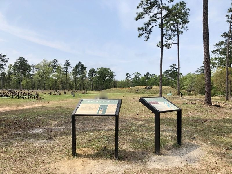 Fort Blakeley Marker with Redoubt #4 in background. image. Click for full size.