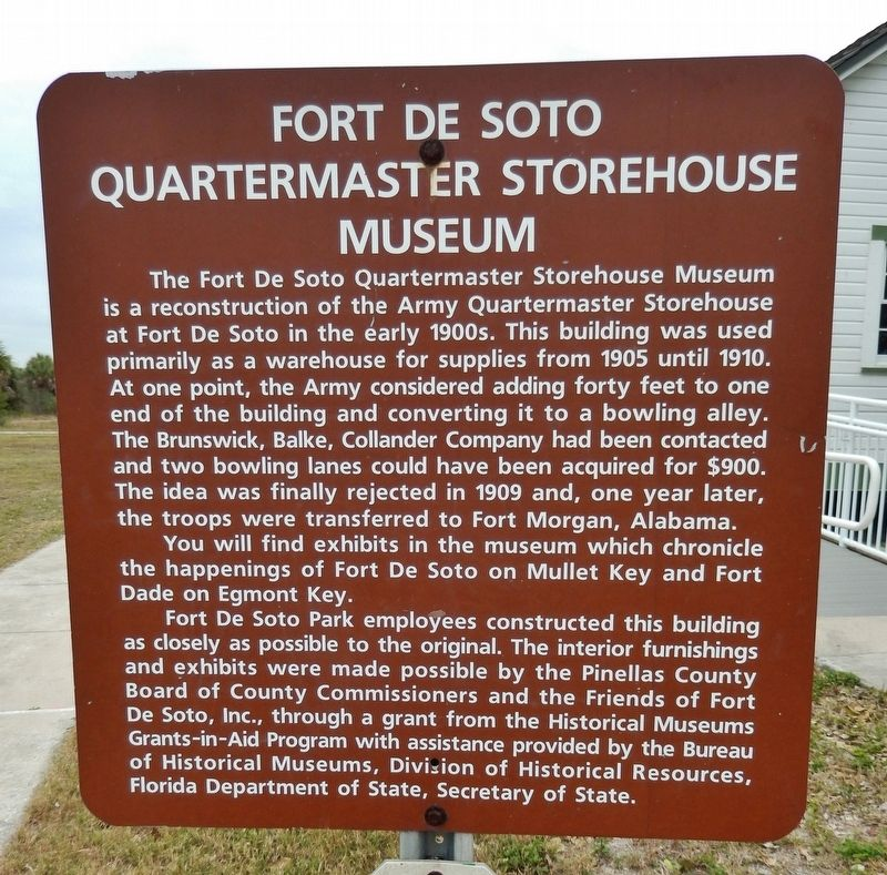Fort De Soto Quartermaster Storehouse Museum Marker image. Click for full size.