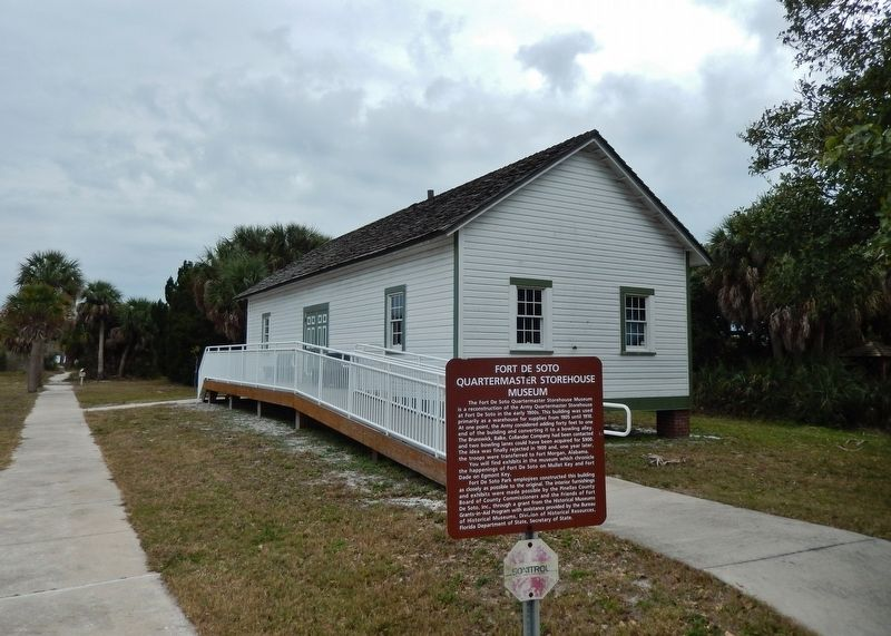 Fort De Soto Quartermaster Storehouse Museum (<i>marker in foreground</i>) image. Click for full size.