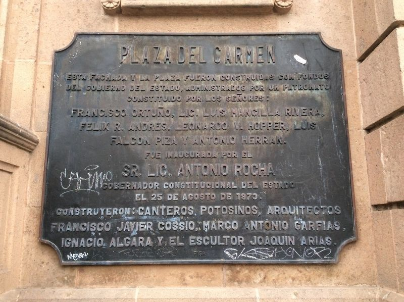 An additional nearby Plaza del Carmen marker image. Click for full size.