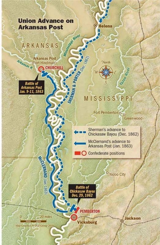 Map showing Gen. Sherman & Adm. Porter's path to Chickasaw Bayou. image. Click for full size.