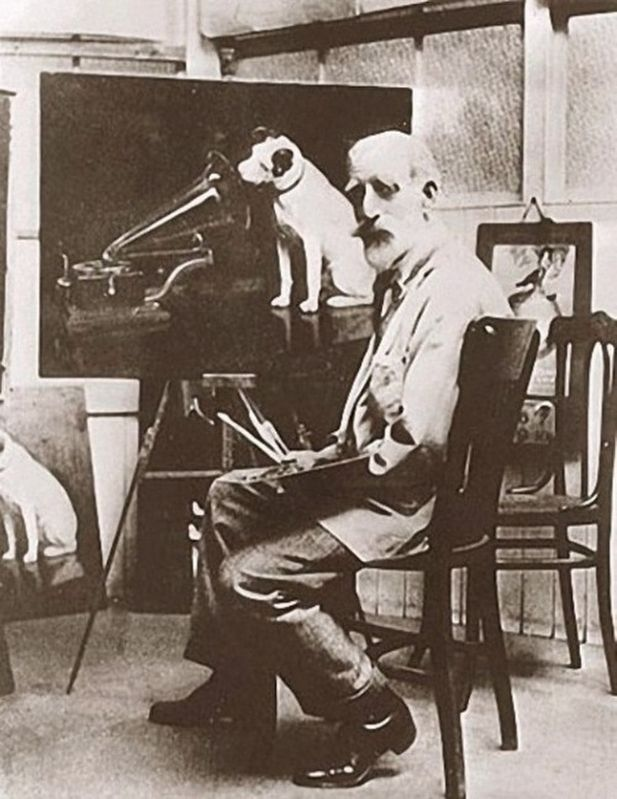 "Barraud with one of his many copies of ""His Master's Voice"" image. Click for full size."