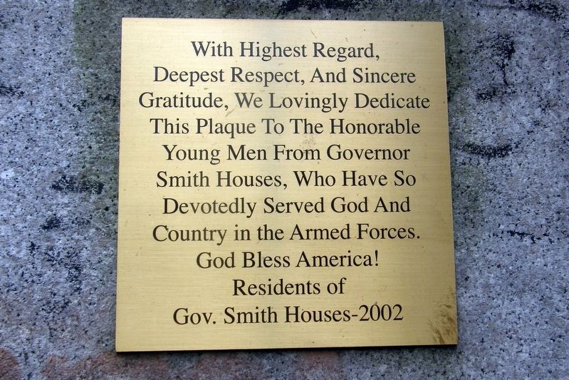 Governor Alfred E. Smith Houses Residents Memorial image. Click for full size.
