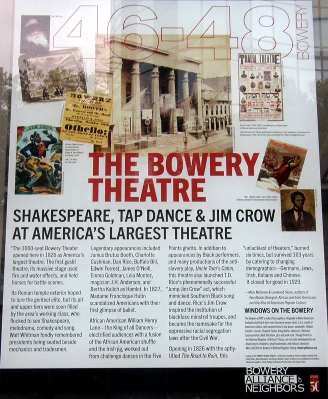 The Bowery Theatre Marker image. Click for full size.
