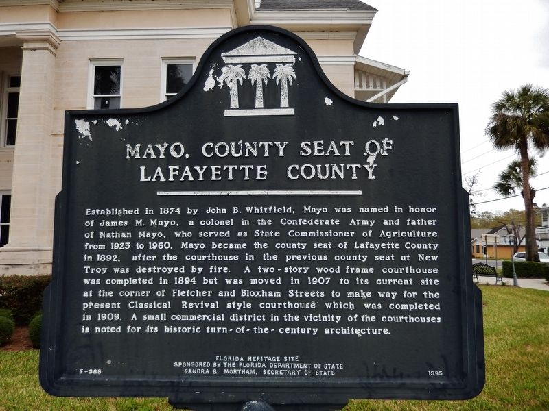 Mayo, County Seat of Lafayette County Marker image. Click for full size.