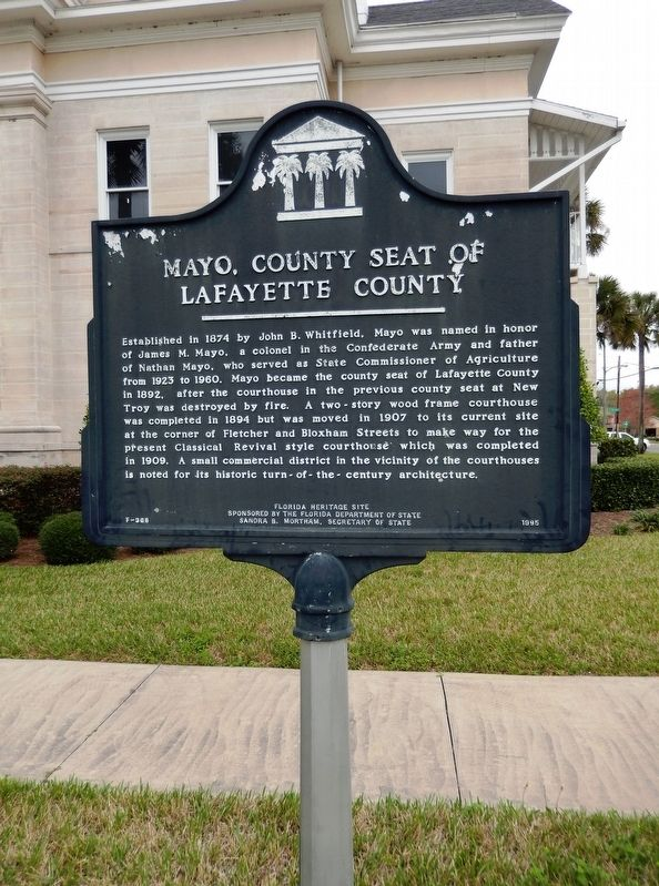 Mayo, County Seat of Lafayette County Marker (<i>tall view</i>) image. Click for full size.