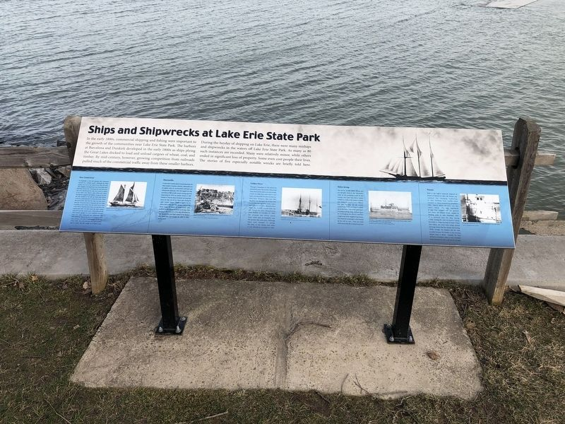Ships and Shipwrecks at Lake Erie State Park Marker image. Click for full size.