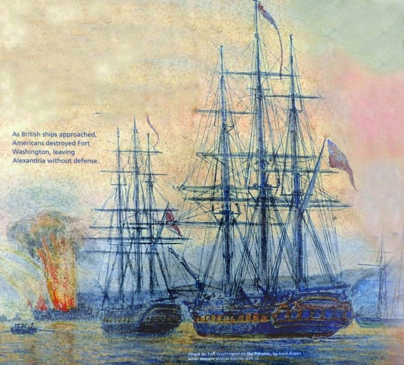 Attack on Fort Washington on the Potomac,<br>by Irwin Bevan image. Click for full size.