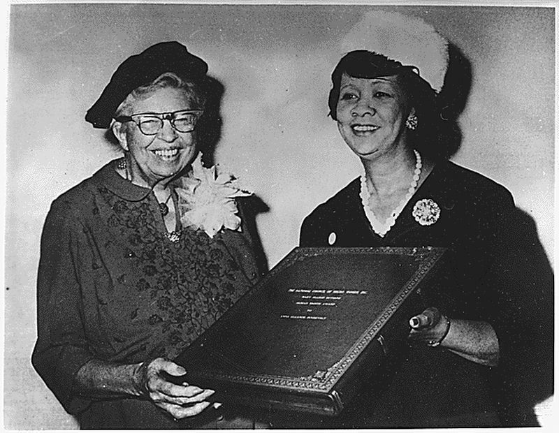 <i>Eleanor Roosevelt receiving the Mary McLeod Bethune Human Rights Award from Dorothy Height...</i> image. Click for full size.