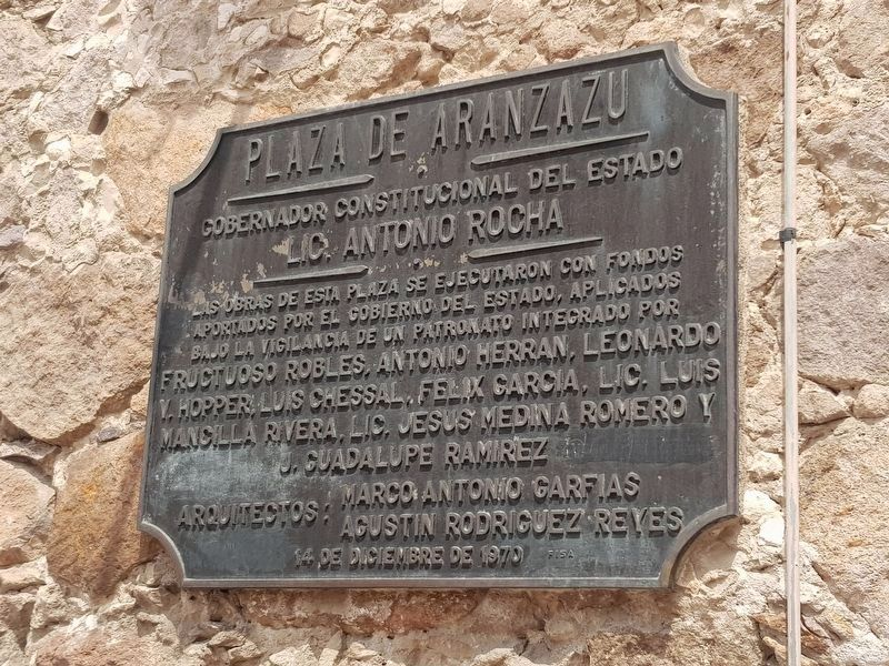 An additional nearby 1970 Aranzazú Square Marker on remodeling efforts image. Click for full size.