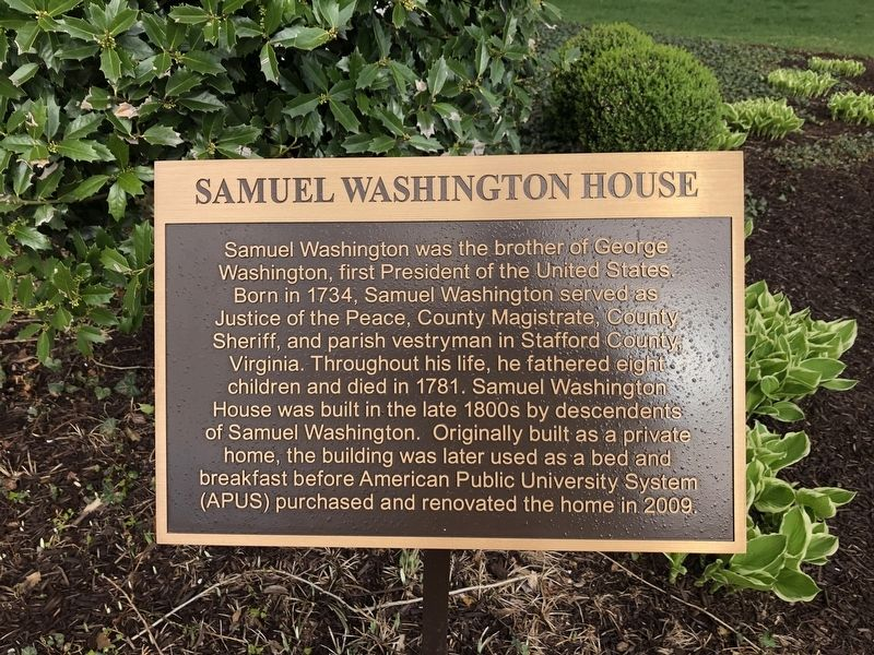 Samuel Washington House Marker image. Click for full size.