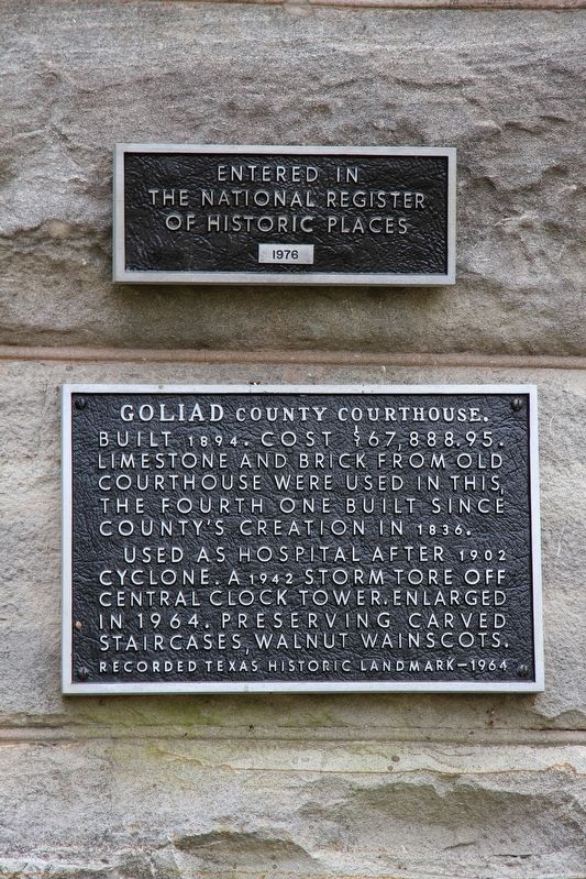 Goliad County Courthouse Marker image. Click for full size.