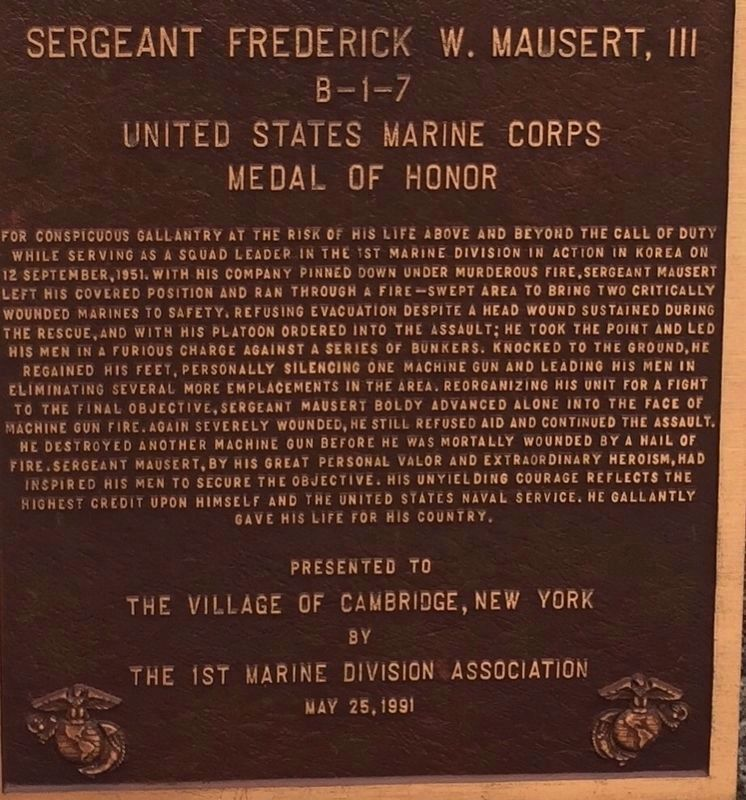 Sergeant Frederick W. Mausert III Marker image. Click for full size.