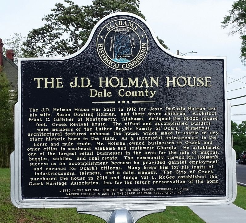 J.D. Holman House Marker image. Click for full size.